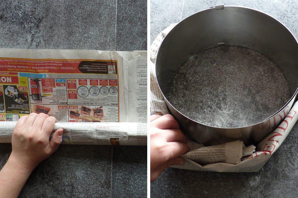 Rohling aus Zeitungspapier