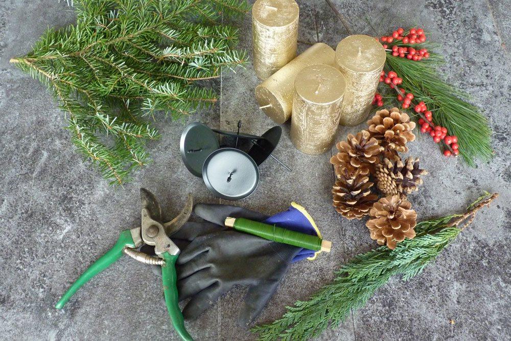 Material für den Adventskranz