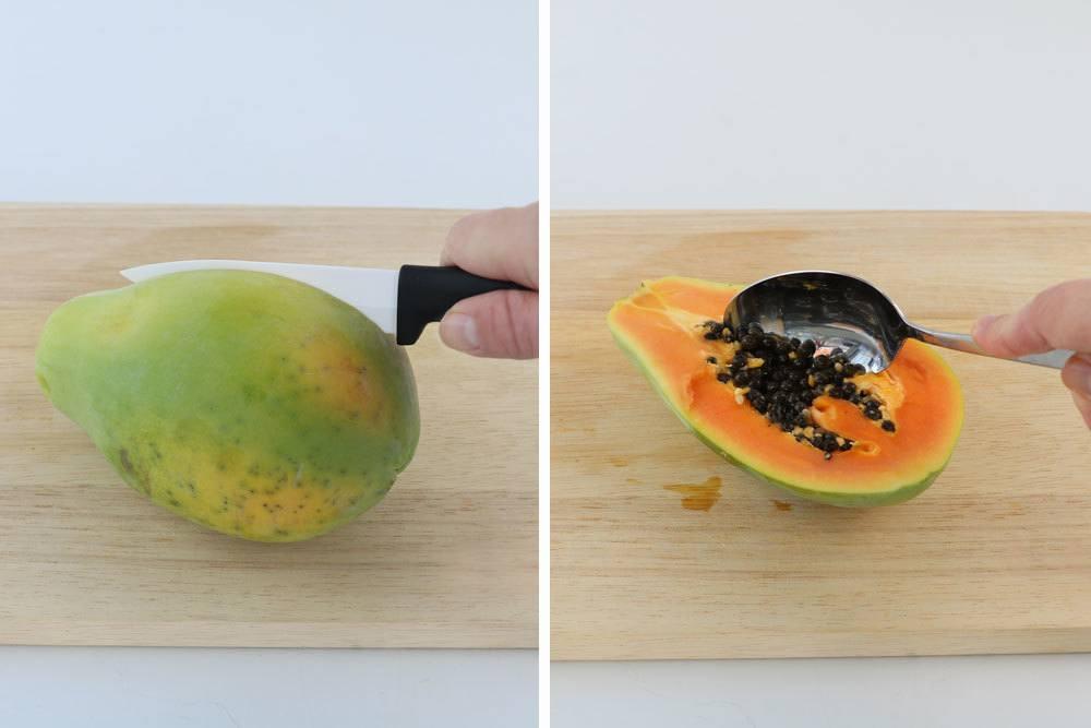 Papaya aufschneiden und Kerne entnehmen