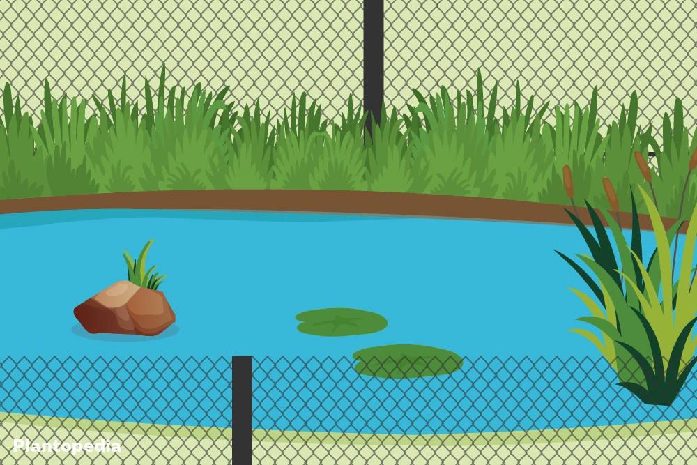 Zaun als Kinderschutz am Teich