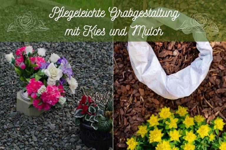 Grabgestaltung mit Kies und Mulch - Titel