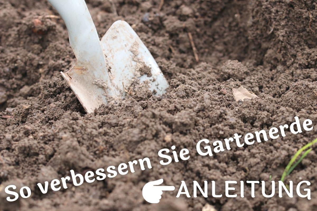 Bodenverbesserung - Schaufel in Gartenerde